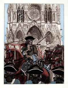 Pierre Brissaud 'Make way for the King!' from The Memoirs of Louis de Rouvroy due de Saint-Simon (1959)
