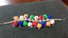 This is a multi color mesh spacer beads woven bracelet