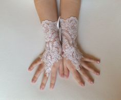 Flower girl ivory lace gloves wedding bridal by GlovesByJana