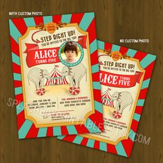 Circus or Carnival Birthday Invitation - Vintage Circus Printable Birthday Invitation - Retro Circus or Carnival Invitation. $10.00, via Etsy.