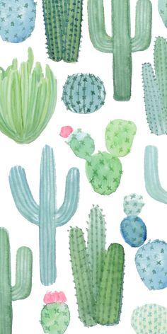 iPhone XS Glitter case - Desert Cactus Garden // Watercolor Cacti by Frost Design Cute Patterns Wallpaper, Trendy Wallpaper, New Wallpaper, Flower Wallpaper, Nature Wallpaper, Custom Wallpaper, Succulents Wallpaper, Watercolor Succulents, Watercolor Cactus