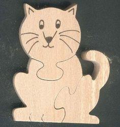 Puzzle bois 3 pièces chat Hetre