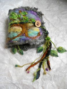 rustic needle felted wool journal enchanted by beautifulplace, $68.00