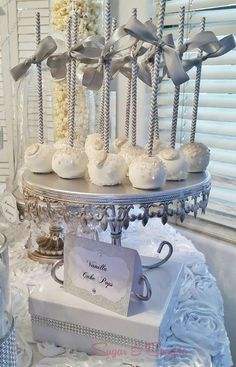 White and silver cake pops at a Glam Engagement Party! See more party planning ideas at CatchMyParty.com!