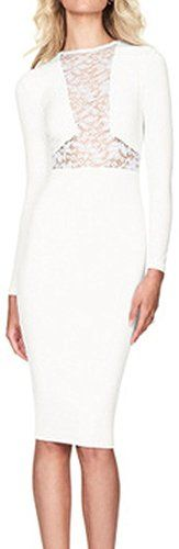 Nextgale Women's Long Sleeve Lacework Front Cocktail Sheath Dress