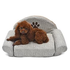 Fashion Dog Bed Pet Soft Cushion Kennel Cute Paw Design Pet Sofa Gray Color Puppy Cat Collapsible Bed Pet Supplies Cotton