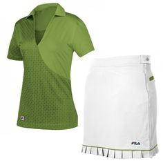 White and Pine Green ladies #golf 2-piece outfit | #golf4her.com #filagolf