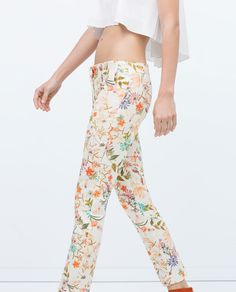 SKINNY TROUSERS WITH FLORAL PRINT-View all-Trousers-WOMAN | ZARA United States