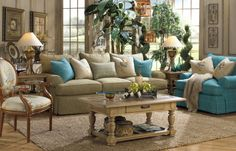 """Gorgeous 100"""" down filled seating sofa from Paula Deen.  100s of fabrics to choose from to make it your own."""
