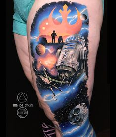 Rebellion ☰ + Death Star fresh, rest mostly healed. Star Wars Rebel Tattoo, Death Star Tattoo, War Tattoo, Knife Tattoo, Star Wars Facts, Star Wars Humor, Tattoo Pierna, Star Wars Shoes, Fusion Ink