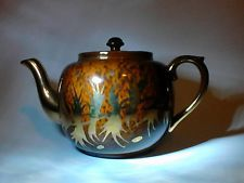 ✴Vtg Gibsons England Earthenware Gold Brown Tone Teapot