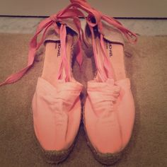 Pink espadrilles. Cute wedge espadrille shoes with 2 inch heel. Perfect for summer!! Barely worn with virtually no marks or dirt on material! Shoes Espadrilles