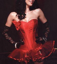 35f3faf409e Leg Avenue Burlesque Lingerie Paige Corset in Red Satin with Boning   Rose  Applique