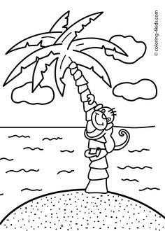 cute baby monkey hanging on its tail eating banana coloring page
