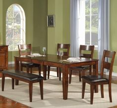 1279 Leg Table with Ladder Back Chairs and Bench by Holland House