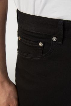 130001-366 - Slim Rinsed No-Fade Black Jeans. Slim-fit jeans with a classic 5-pocket design. Cut in dark-black cotton twill with comfort stretch. #ARKET
