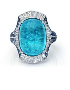 10.35 carat Cushion Shape Paraiba Tourmaline Cabochon Ring