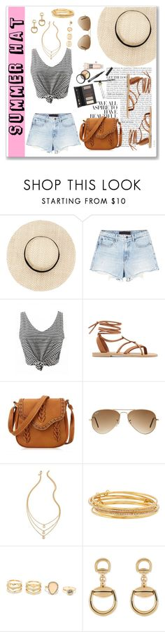"""""""Summer Hat"""" by ancona148 ❤ liked on Polyvore featuring Alexander Wang, Valia Gabriel, Ray-Ban, Kate Spade, LULUS, Gucci and Borghese"""