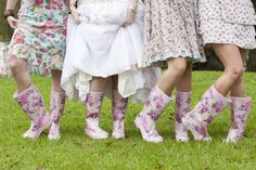 Floral bridesmaid wellies