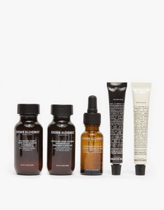From Grown Alchemist, a complete facial kit including a Hydra-Repair day cream, lip balm, Antioxidant Treatment, Gentle Gel facial cleanser and balancing toner with different nourishing properties for fresh skin.  • Complete facial kit • Hydra-Repair d