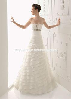 Chic Strapless A-line Zipper-up Satin Strapless A-line Wedding Dresses,Strapless A-line Wedding DressesStrapless A-line, Wedding Dresses