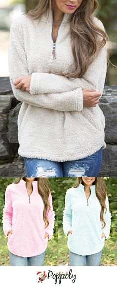 This gorgeous Charles River pullover is such a must-have for fall and winter! We are in love with the amazingly soft and fuzzy outer material - and you can't go wrong with this classic light beige or pink color! Get one today at www.poppoly.com! #winterfashion #winterstyle #pullover #womensfashion #tops
