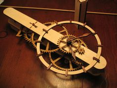 wooden gravity driven pendulum clock