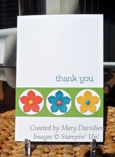 A Petite Petals punch set and colorful paper match up perfectly for this handmade thank you card.  Follow any color theme you want for this cute card.
