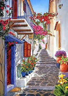 Skiathos Balcony Greece, love it. Watercolor Landscape by Pantelis D Zografos Watercolor Landscape, Watercolour Painting, Watercolours, Landscape Art, Watercolor Trees, Landscape Drawings, Painting Abstract, Abstract Paintings, Art Paintings