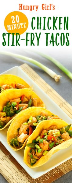 Healthy Chicken Stir-Fry Tacos + More 20-Minute Recipes   Hungry Girl Fried Chicken Taco, Healthy Chicken Stir Fry, Chicken Tacos, Teriyaki Chicken, Healthy Cooking, Healthy Recipes, Cooking Recipes, Healthy Meals, Healthy Food