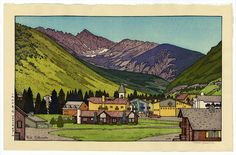 Town of Vail, Colorado by Yoshida Toshi Japanese Prints, Japanese Art, Hiroshi Yoshida, Vail Colorado, Japanese Aesthetic, Japanese Painting, Antique Prints, Woodblock Print, Great Artists