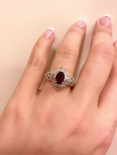 Another ruby and diamonds ring , set in platinum