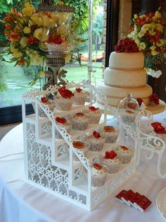 Pretty red and white cupcakes at a wedding party! See more party ideas at CatchMyParty.com!