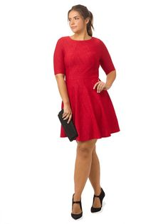 Fit & Flare Dress In Ruby Red