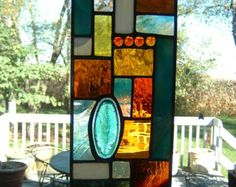 Stained Glass  Red and Amber Prairie Abstract by islandglass1