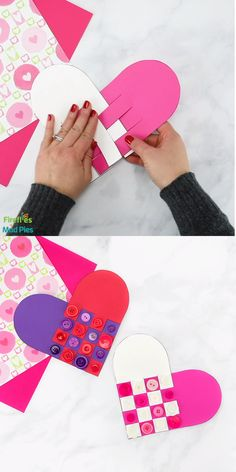 crafts for kids Reminiscent of Scandinavian Woven Hearts, this Woven Heart Craft is an easy and fun Valentine's Day craft for kids of all ages to make at school or home. Arts And Crafts For Teens, Art And Craft Videos, Valentine's Day Crafts For Kids, Valentine Crafts For Kids, Easy Arts And Crafts, Mothers Day Crafts, Valentines Diy, Toddler Crafts, Fun Crafts
