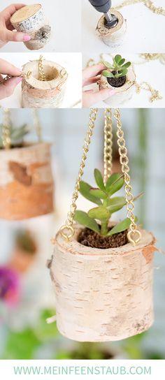 Kreative DIY Idee aus einem Birkenstamm: Hängende Pflanzöpfe und Blumenampeln für Sukkulenten aus einem Birkenstamm einfach selbermachen | Pflanzen DIY mit Step by Step DIY Tutorial zum Nachbasteln