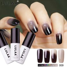 Cheap Nail Gel, Buy Directly from China Suppliers:LULAA 18 Colors Thermal Temperature Change Color Nail Gel Polish Soak Off UV Chameleon Gel Polish Led Nail Polish Gel Lacquer Gel Nail Removal, Gel Nail Varnish, Nail Remover, Nail Gel, Gel Polish Colors, Nail Colors, Summer Acrylic Nails, Types Of Nails, Led Lampe