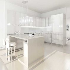 Dreamy modern all white minimalist kitchen. This is my husband's idea of a blissful interior.