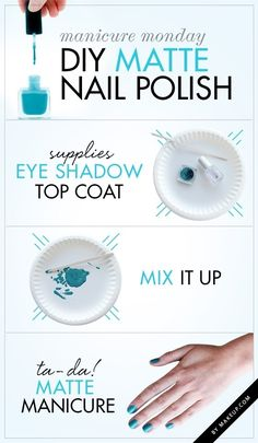 DIY matte nail polish from old eyeshadow! I think I'm gonna try this later today. :D