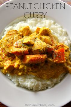Tender chunks of chicken and vegetables, slow-cooked to perfection in a sauce of curry, peanut butter and coconut milk.(Whole Chicken Curry) Curry Recipes, Paleo Recipes, Slow Cooker Recipes, Indian Food Recipes, Asian Recipes, Real Food Recipes, Chicken Recipes, Cooking Recipes, Peanut Chicken