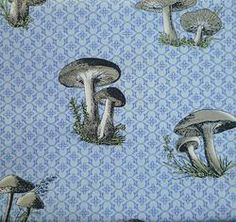 In The Beginning Mushroom in Blue Fat Quarter £1.50 #fabric #sewing #natural #cotton #creative #craft