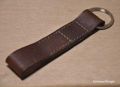 Handmade vintage leather keychain leather key fob by CentaurStraps