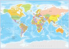 High Res World Map for Illustrator World Map With Countries, Vector File, Diagram, Illustration, Poster, Art, Art Background, Illustrations, Kunst
