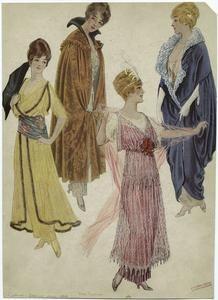 [Women in evening gowns, ca. 1914.]