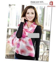 Women, Brand New, Real Silk Made Shawl, Wrap, Scarf, Long Length, Chinese, Print Real Natural Silk Made