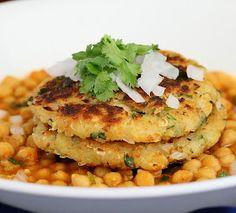 Vegan Richa: Potato Quinoa Patties with Chickpea curry. Tikki Chole. Vegan Recipe