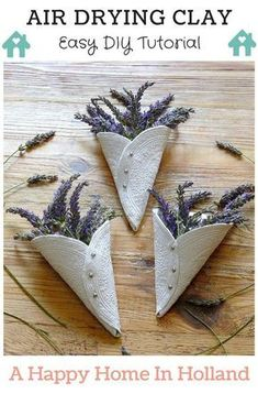 Easy Air Drying Clay Craft Project - Learn how simple it is to make your own decorative clay cones. These are so versatile and would make really great gifts - check out the step-by-step tutorial at the 'A Happy Home In Holland' blog