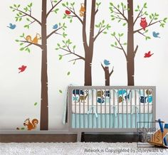 Forest Friends Tree Wall Decal  Birds decal Squirrels Owl Tree Decal Nursery Baby Kids Vinyl Wall Decal Children Sticker