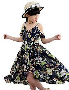 Menina de Vestido Floral Verão Poliéster Sem Manga
